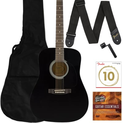 Fender Squier Dreadnought Acoustic Guitar - Black Learn-to-Play Bundle for sale