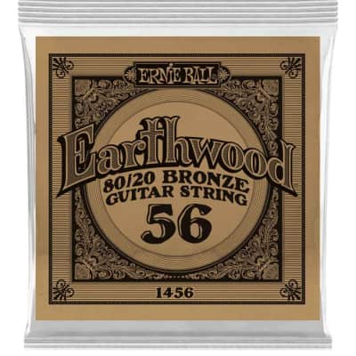Ernie Ball P01456 .056 Earthwood 80/20 Bronze Acoustic Guitar Strings (6-Pack)