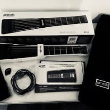 RARE WHITE 2017 JAMSTIK+  W/ NEW CARRYING CASE+ADD-ON BODY+WOOD ONLAY KIT+NEW PACK OF STRINGS