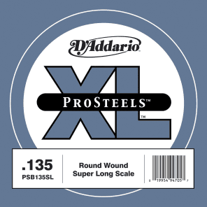 D'Addario PSB135SL ProSteels Bass Guitar Single String Super Long Scale .135