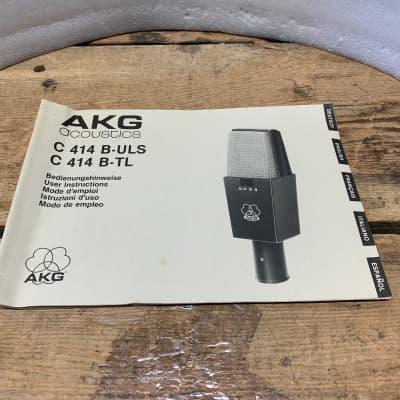AKG  C414 B- ULS/C414 TLll VINTAGE MICROPHONE MANUAL- ORIGINAL/CLASSIC!!!!