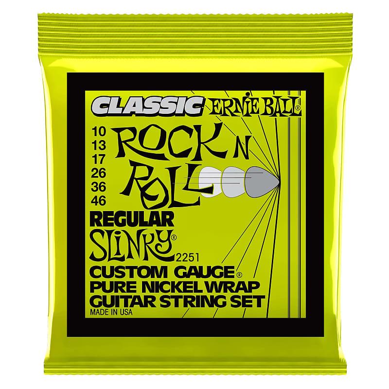 Ernie Ball Regular Slinky Classic Rock N Roll Pure Nickel Wrap Electric Guitar Strings 10-46 Gauge