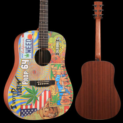 Martin DX420 Robert Goetzl Illustrated Dreadnought Acoustic-Electric Guitar Natural S/N 2216808, 5lbs, 2.3oz for sale