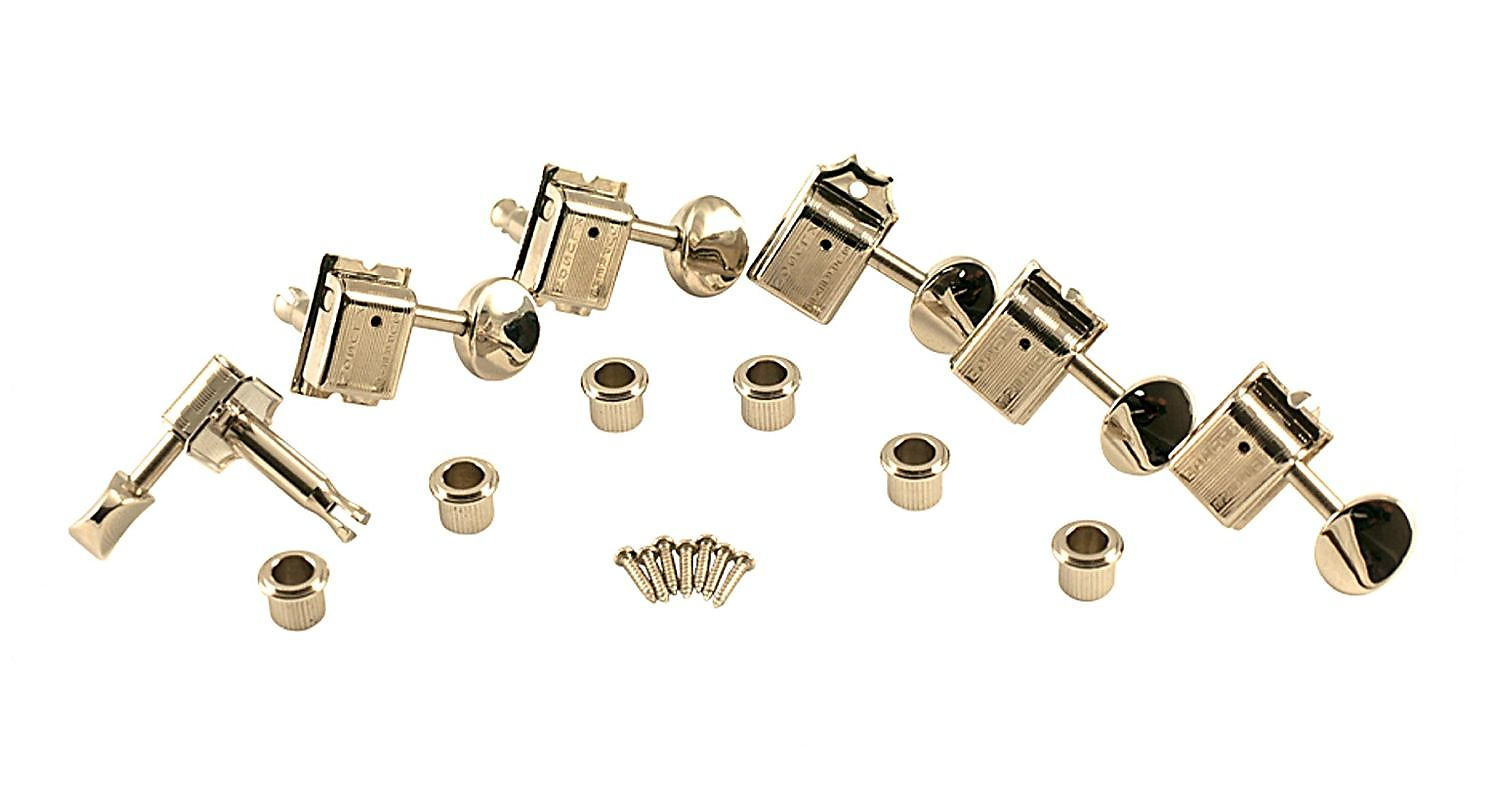 Kluson Supreme 6 In line Tuners Oval Metal button, STAGGERED Safety post Nickel KTS9105MNX