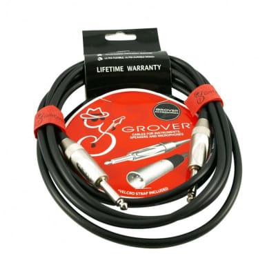 Grover Black Noiseless Instrument Cable, 10 ft., GP310, Lifetime Warranty for sale
