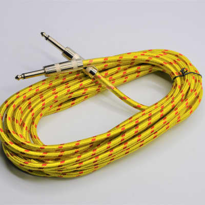 20ft Braided Yellow Electric/Acoustic Guitar/Bass Instrument Cable Chord Copper Core Material