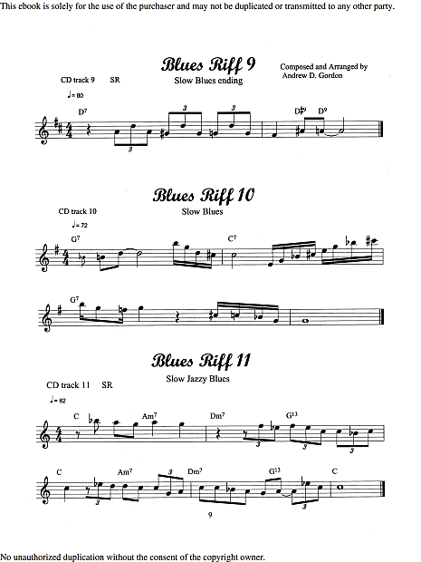 100 Ultimate Blues Riffs For Tenor Sax and Bb instruments Book/downloadable  audio files