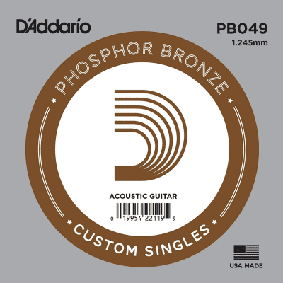 D'Addario .049 Guage Single Phosphor Bronze Wound Acoustic Guitar Strings
