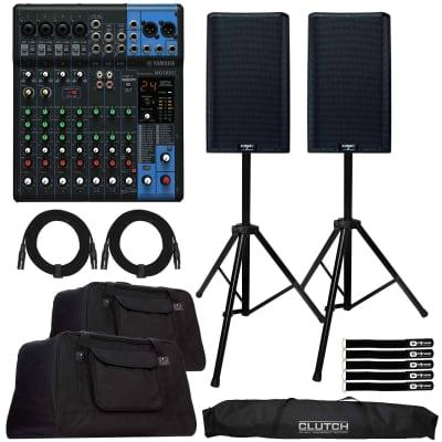 "QSC K12.2 12"" 2-Way 2000W Powered DJ PA Speakers w MG10XU 10 Chan Mixer & Totes"