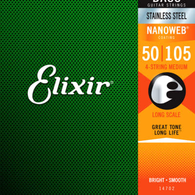 Elixir Nanoweb 4-String Bass Stainless Steel Set, 50-105