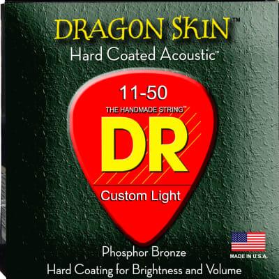 DR Strings DSA-11 DragonSkin Coated Acoustic Strings - Custom Lite, 11-50 for sale