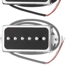 NEW P94 Pickups Set Humbucker Sized P90 Chrome Black Covers Vintage Gibson Tone