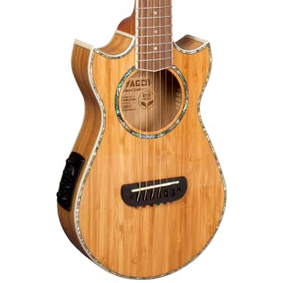 Lindo Eco Voyager SE Bamboo Electro Acoustic Travel Guitar BS3M Mic/Piezo Preamp - Padded Carry Case for sale
