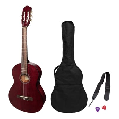 Martinez 'Slim Jim' 3/4 Size Student Classical Guitar Pack with Built In Tuner (Red) for sale