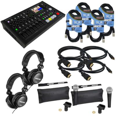 Roland VR-4HD HD AV Mixer - (4) HDM Cable (4) XLR Cable - (2) Tascam TH02 - (2) SM58 Mic