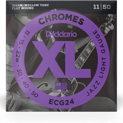D'Addario Chromes Electric Flat Wound XL Strings - ECG24 CHROMES Jazz Light 11-50
