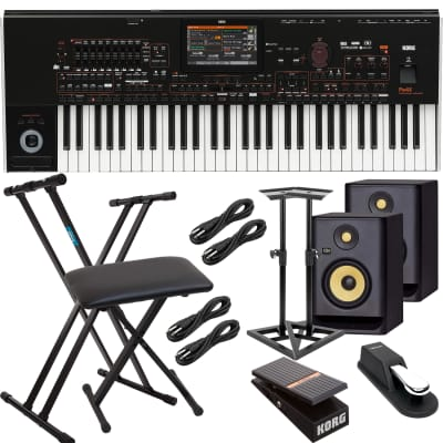 Korg Pa4X-61 61-key Professional Arranger, (2) KRK RP5G4 Monitors, Monitor Stands, Keyboard Stand, Bench, Korg EXP2 Pedal, Sustain Pedal, (4) 1/4 Cables Bundle