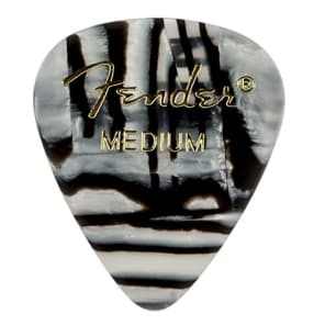 Fender 351 Premium Celluloid Guitar Picks - MEDIUM, ZEBRA - 12-Pack (1 Dozen) for sale