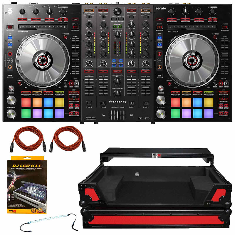 Pioneer DJ DDJ-SX3 DDJSX3 Serato Pro DJ Controller Mixer w Red Case, LED  Strip