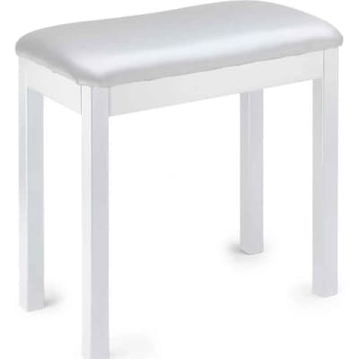 Stagg White metal piano or keyboard bench with black vinyl top, New, Free Shipping