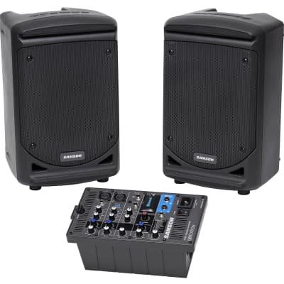 "Samson Expedition XP300 300w Portable 6"" Bluetooth Powered PA DJ Speakers+Mixer"