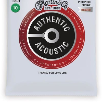 Martin MA530T Lifespan 2.0 Phosphor Bronze Acoustic Guitar Strings, .010-.047
