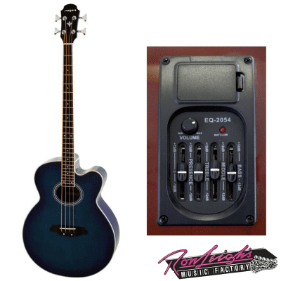 Aria FEB-30M Elecord Series Acoustic Electric Bass in Blue Burst with Bag for sale