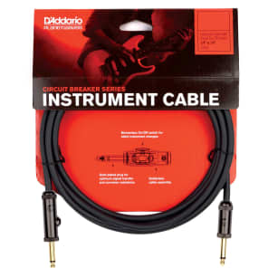 """Planet Waves PW-AG-15 Circuit Breaker 1/4"""" TS Straight Instrument Cable w/ Integrated Mute Switch - 15'"""