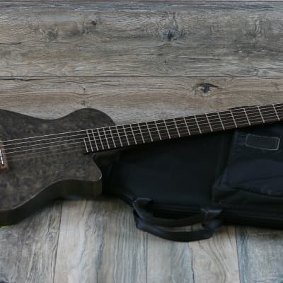 RARE! Veillette Custom Electric Nylon Classical 6 String Baritone Grey Quilt for sale