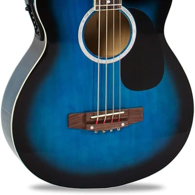 Full Size 4 String Acoustic Electric Bass Guitar Fretted Bass Guitar Blue