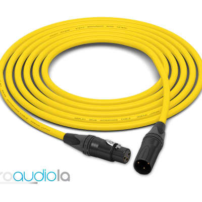 Mogami 2549 Cable | Neutrik Gold XLR-F XLR-M | Yellow 90 Feet | 90 Ft. | 90'