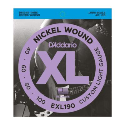 D'Addario EXL190 Nickel Wound Bass Guitar Strings Custom Light 40-100 Long Scale