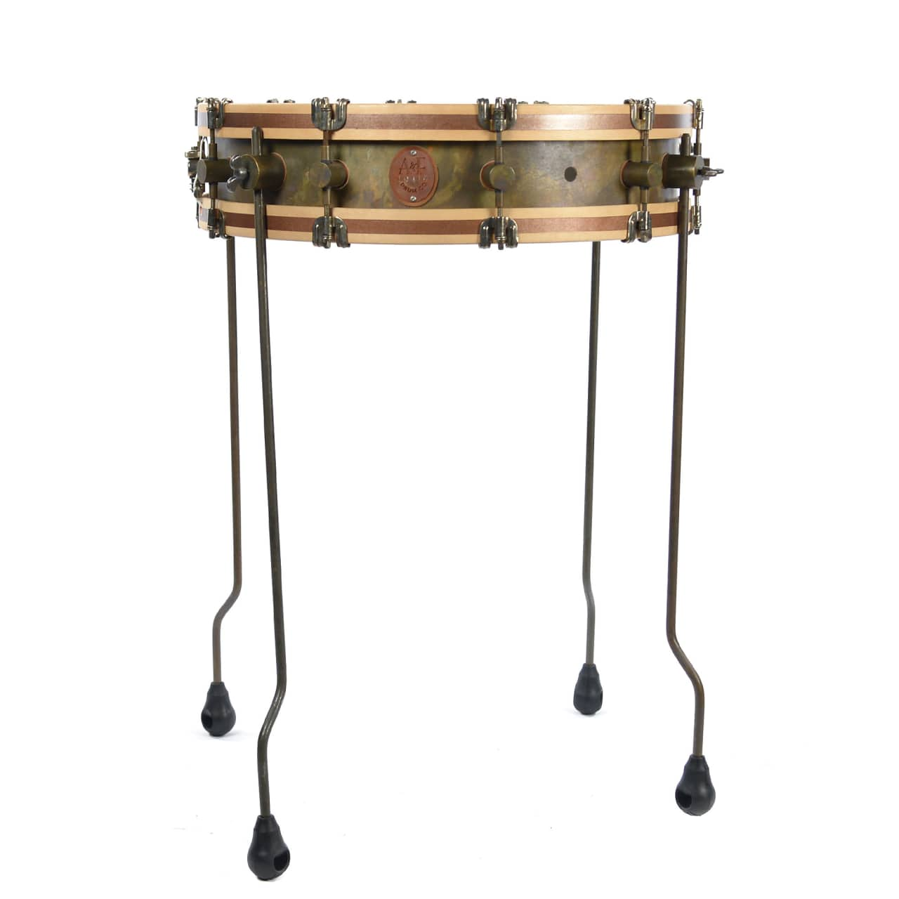 A f drum co 4x18 gun shot raw brass snare drum w floor for 18 inch floor tom for sale