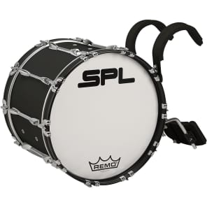 """Sound Percussion Labs MBD2414XWH Birch Marching Bass Drum with Carrier - 24x14"""""""