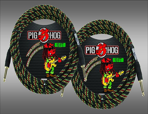 "Pig Hog Instrument Cable 10ft Rasta Stripe Gold plated 1//4/"" guitar cable PCH10RA"