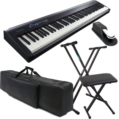 ROLAND FP-30 DIGITAL PIANO, Keyboard Stand, Keyboard Bench, Sustain Pedal, NKTM 88 Gig Bag Bundle