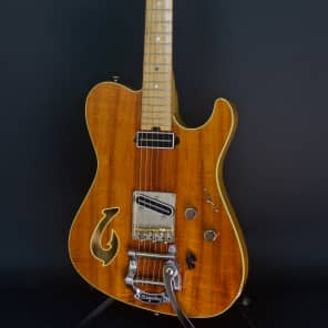 Asher T Deluxe Master Series Bound Flame Hawaiian Koa with Bigsby 2011 Nitro Amber Gloss for sale
