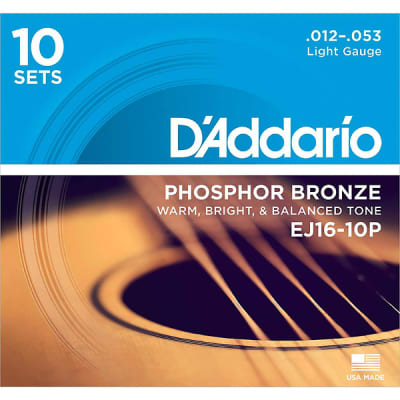 D'Addario EJ16 Acoustic Light Guitar Strings 10-Pack