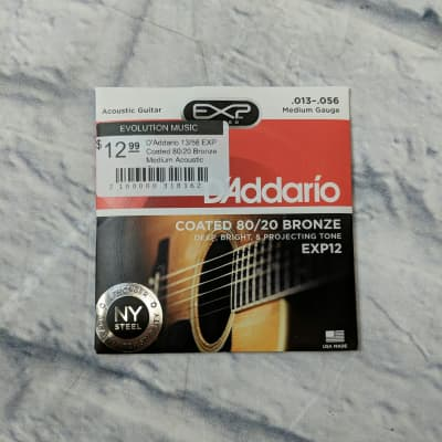 D'Addario 13/56 EXP Coated 80/20 Bronze Medium Acoustic Guitar Strings