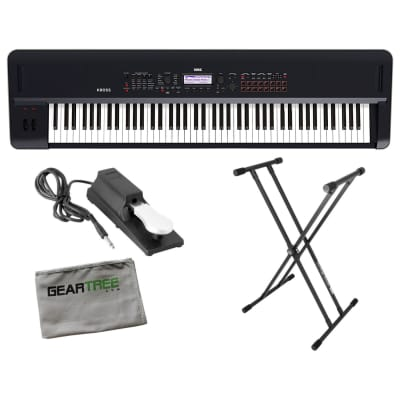 Korg KROSS288 Synthesizer 88 Note Dark Blue w/ Stand, Sustain Pedal, and Geartree Cloth