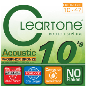 Cleartone 7410 Phosphor Bronze Coated Acoustic Guitar Strings - Extra Light (10-47)