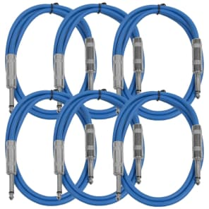 """Seismic Audio SASTSX-2BLUE-6PK 1/4"""" TS Patch Cable - 2' (6-Pack)"""
