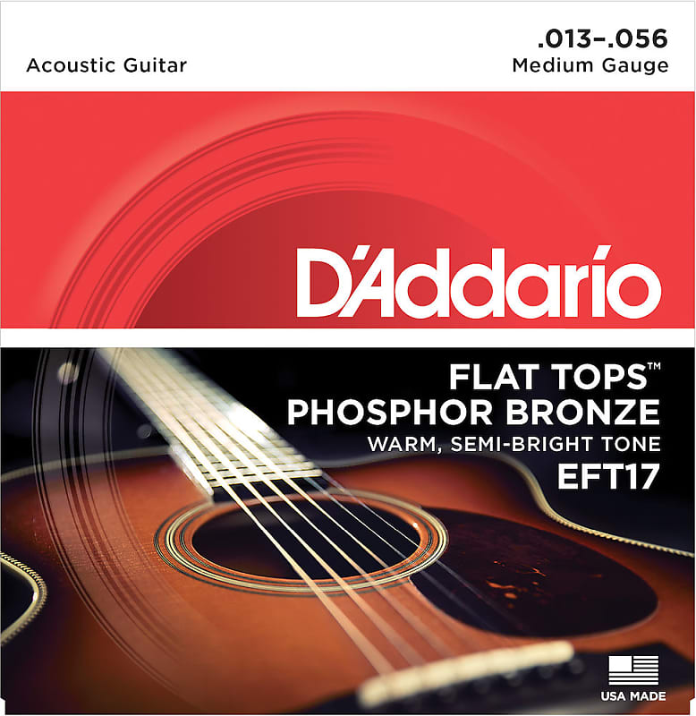 D'Addario EFT17 Flat Top Phosphor Bronze Acoustic Guitar Medium Gauge Strings 13-56