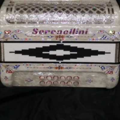 Serenellini 3 switch button accordion white pearl