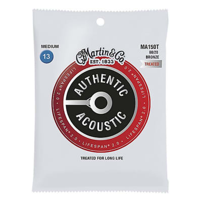 Martin MA150T Authentic Acoustic Lifespan 2.0 80/20 Bronze Acoustic Guitar Strings - Medium (.13 - .56)
