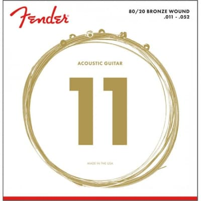 Fender 70CL Acoustic Guitar Strings 80/20 Bronze Custom Light Ball End 11-52 .011-.052 - 0730070405 for sale