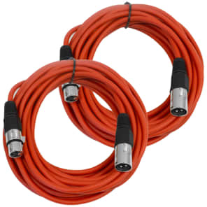 Seismic Audio SAXLX-25RED2 XLR Male to XLR Female Mic Cable - 25' (2-Pack)