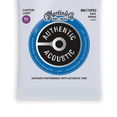 Martin 3 Pack MA175PK3 SP 80/20 Bronze Authentic Acoustic Guitar Strings Custom Light 11-52
