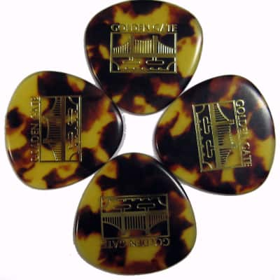 Goldengate 4 Pack of Deluxe Tortoise Style Nitrocellulose X-Heavy, X- Large Mandolin Pick - Rounded Triangle