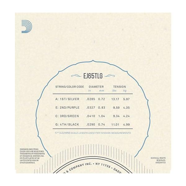 D'Addario EJ65TLGPro-Arté Custom Extruded Nylon Ukulele Strings, Tenor Low-G
